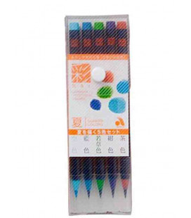 Akashiya Watercolour Brush Pen Sai 5 Colors Set (Summer)