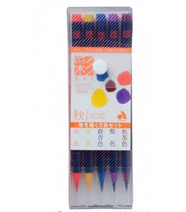 Akashiya Watercolour Brush Pen Sai 5 Colors Set (Autumn)