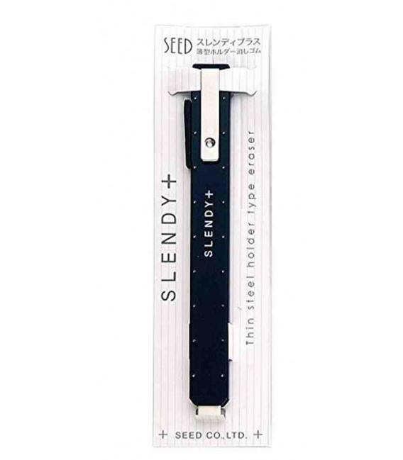 Seed Slendy Plus Eraser Black - Porta gomma in metallo per matita (importato dal Giappone)